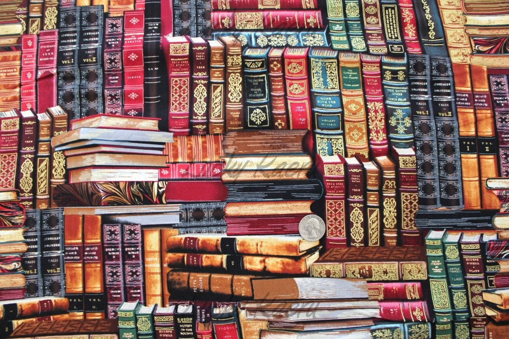 library books multi fabric by the yard
