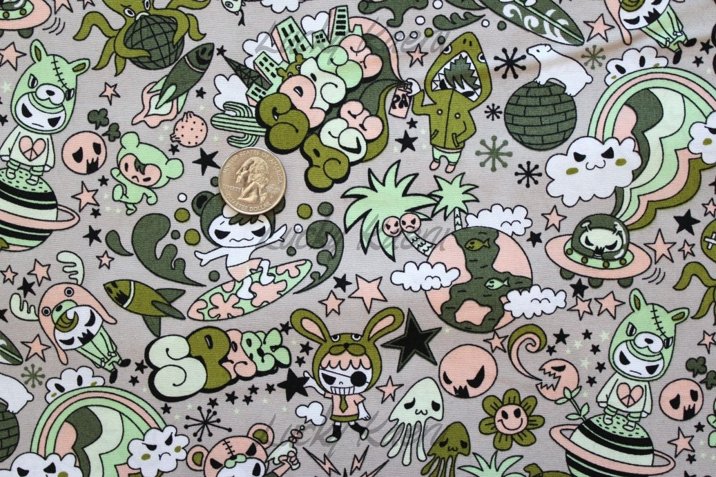 Kawaii anime space surfer camouflage fabric by the yard for Space fabric by the yard