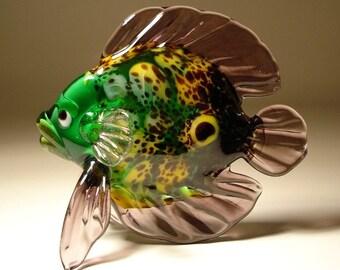 Handmade Art Blown Glass Figurine Animal Tropical Green and Purple Fish
