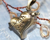 Locket  Necklace Heart shape Wishes Do Come True -  Antique Brass, Valentine's Day