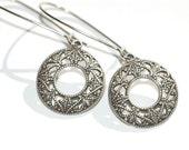 Sale Art Nouveau  Dangle Earrings  Antique Silver