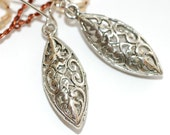 Drop Earrings Marquise Lace on Antique Silver,  Sale
