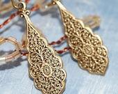 Ornate Embossed  Drop Earrings Antique Brass Art Nouveau After Christmas Sale
