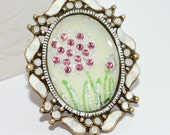 Pink Dandelion Flower Necklace Hand Painted  Spring Art Pendant Mother's Day