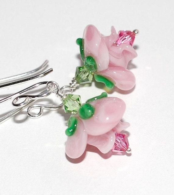 Pink Rose Flower Earrings on Long Sterling Silver Earwire Sale