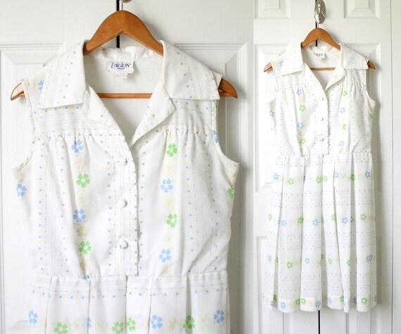 Vintage 60s Day Dress - White Flocked Flower Print Sundress- Size 12