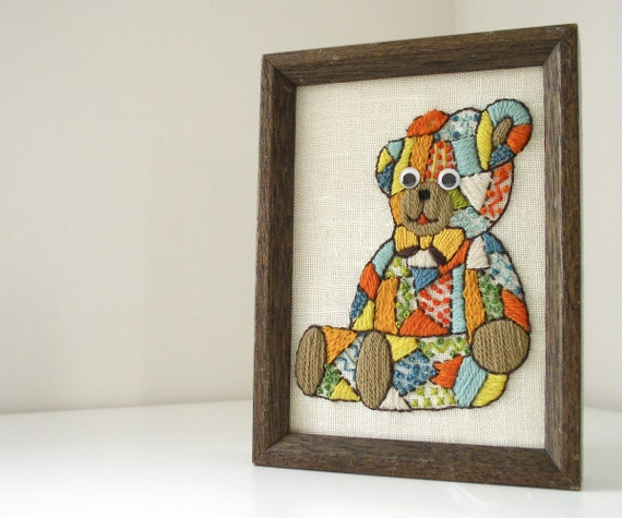 Vintage 70s Embroidered Patchwork Bear in Frame