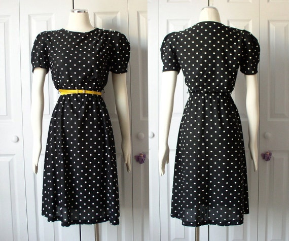Vintage 1980s Black and White Polka Dot Puff Sleeve Vintage Dress Size Small