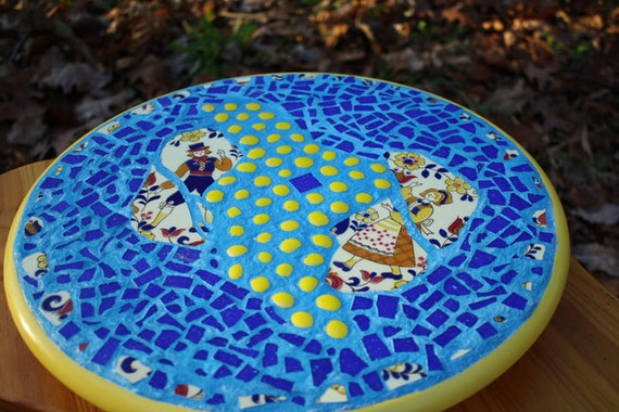 Mosaic Lazy Susan Turntable, Upcycled large round table server Turquoise cobalt Blue