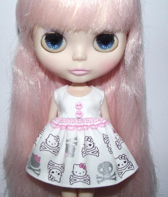 Skull Kitty Babydoll dress for Blythe and Pullip