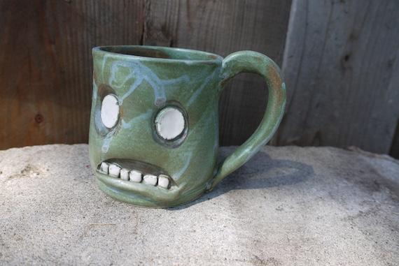hand thrown, ceramic,  Zombie mug