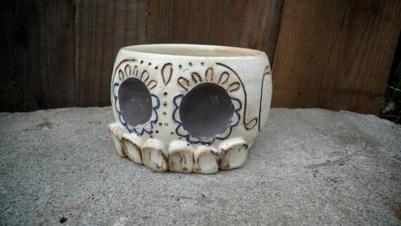 hand thrown ceramic Sugar Skull Tea Bowl