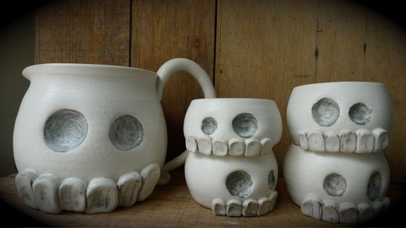 Ceramic, skull pitcher and cup set--ON HOLD FOR  5arahHaden