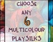 "Six Custom Playsilks:  6 x 35"" Multicoloured Silks, You Choose (Waldorf Inspired Natural Toy)"