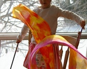 Playsilk Streamer and Wooden Wand Toy : Twirligig  (Sunrise) All Natural