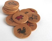 BOGO SALE Memory Game : Wooden Barnyard Matching Coins (Down on the Farm)