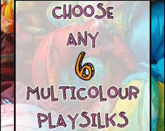 "Six Custom Playsilks:  6 x 35"" Multicoloured Silks, You Choose (Waldorf Inspired Natural Toy)"