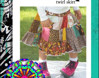 Sewing Pattern for Twirl Skirt : The Kaleidoscope Twirl Skirt (PDF Digital Insructions, Sizes 2T to Girls' 10/12)