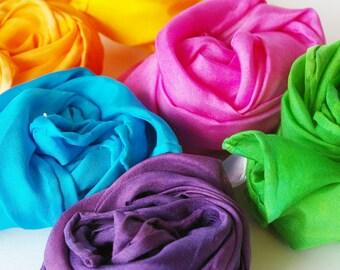 "Small Playsilk Set of 6 : Fairy Silkies, Summer Garden Palette (11 x 11"" Rainbow)"