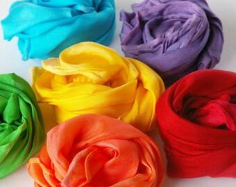 Play Silk Rainbow Set : Fairy Silkies, Rainbow Palette (Set of Six 11 x 11 Waldorf Playsilks)