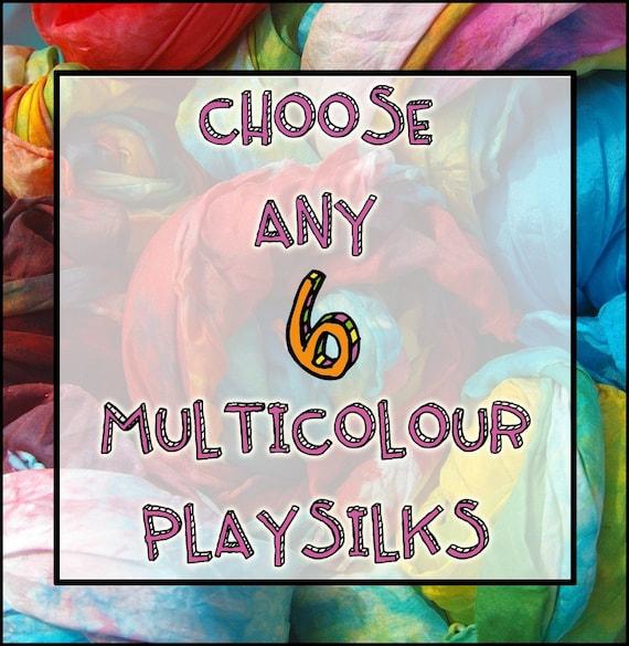 "Waldorf Toy Play Silks:  Custom Set of 6 35"" Silks (Waldorf Inspired Natural Toy)"