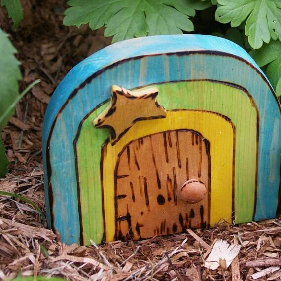 Rowan tree fairy door rainy rainbow by beneaththerowantree for Rainbow fairy door