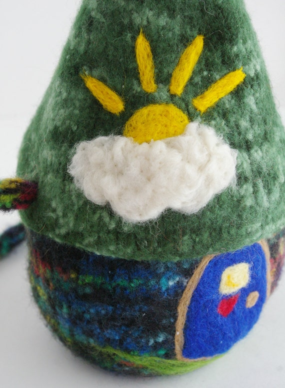 Waldorf Rainbow Fairy House:  Wee Dwellings, Rainbow Cottage (Felted Wool Toy)