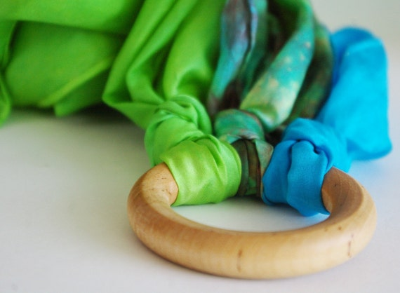 Outdoor Playsilk Wooden Ring Toy: Wind Runner ('Riverside' Silks on a Wooden Ring)