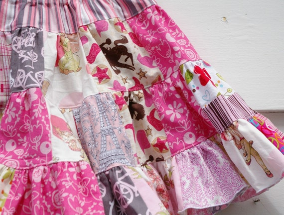 Twirl Skirt for Girls : The Kaleidoscope Patchwork Skirt (Pretty in Pinks 4T/ 5T/ 6T)