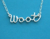 woot (sterling silver wire word necklace)