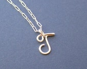 small letter J necklace (sterling silver wire letter)
