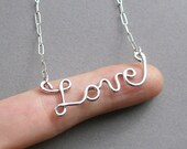 Love Necklace (sterling silver wire word) American Cancer Foundation donation