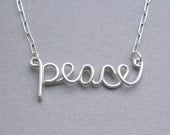 peace necklace - sterling silver wire word