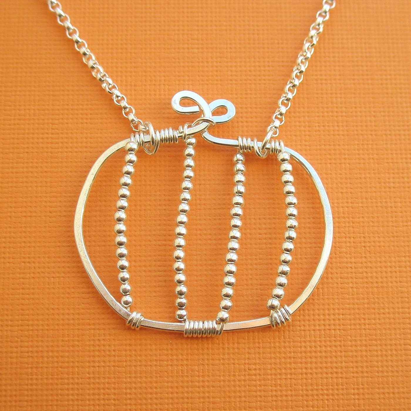 pumpkin necklace all sterling silver