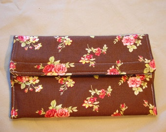 Coupon Organizer Brown Floral