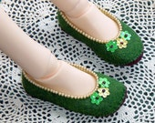 Wool Felt Ballerina Flats for Ball Jointed Doll