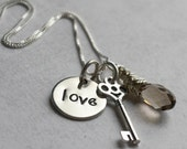 You Are the Key - small size - custom necklace with skeleton key and Swarovski crystal