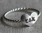 true love ring - sterling silver and stamped with couples initials