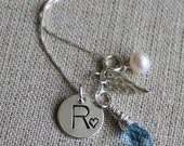 My Angel - Heirloom Necklace with Swarovski Crystal, Freshwater Pearl, Sterling Silver Angel Wing