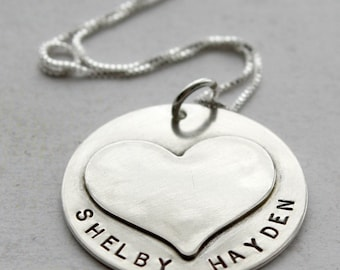 My Heart is Full Necklace - sterling silver disc with soldered heart