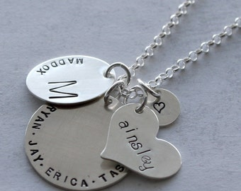 Heirloom Collection Grandmother's Necklace - sterling silver stamped charms