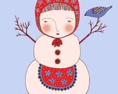 Beautiful Snow Woman - Art Print