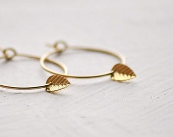 Tiny leaf gold hoop earrings - gold filled small hoops - delicate gold earrings - dainty hoops - simple earrings - edor