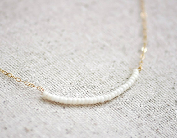 CUSTOM personalized Gold Dash g&m 14in and Cherish - white beads gold necklace - delicate simple jewelry - edor  gift for her