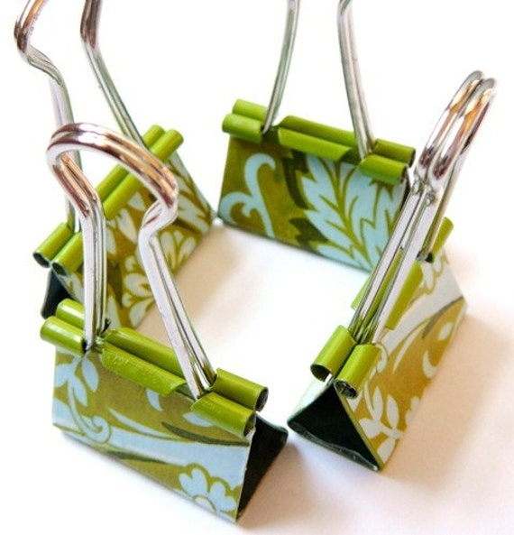 Office Pretty Binder Clips or Bookmarks - Spa Blue and Green