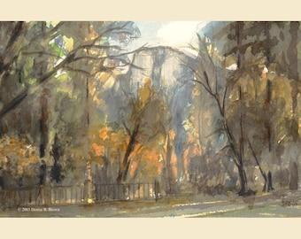 Ahwahnee Lawn, Fine Art Print, 9x7