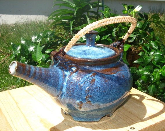SALE - Teapot with Slipwork in Rutile Blue