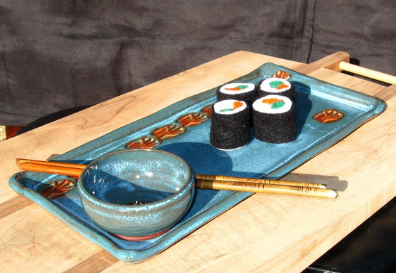 SALE - Sushi Serving Set with Soy Dish and Bamboo Chopsticks