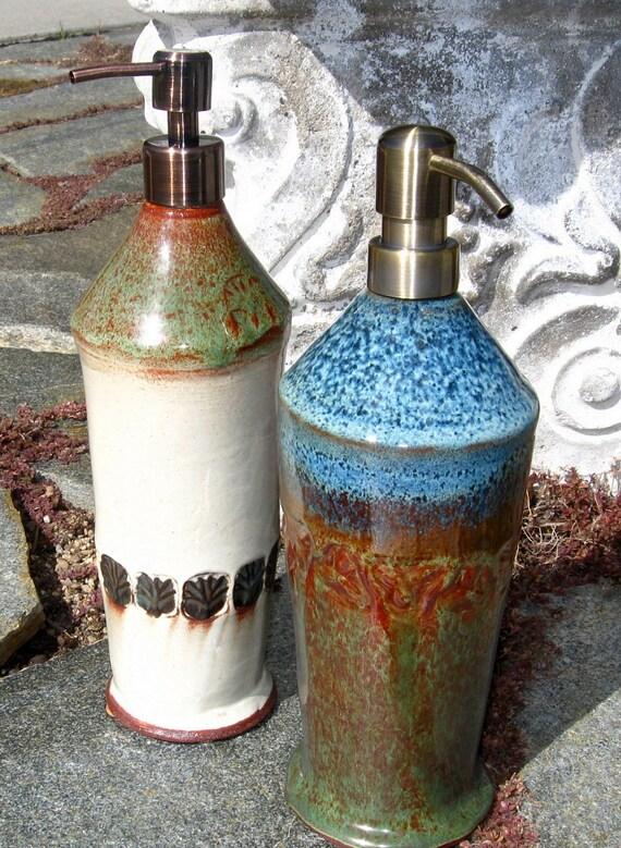 Tall Kitchen Sink Stoneware Soap Dispenser with Brass Pump in Rutile Blue Orange