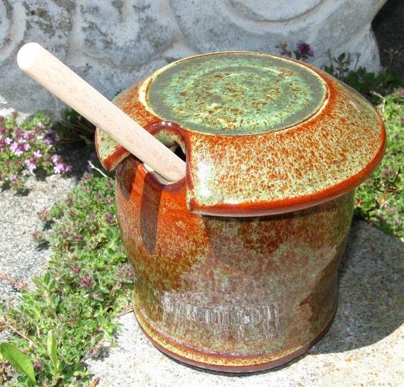 Honey Pot/Sugar Jar - Orange/Speckled Green